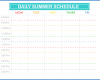 Free Printable Summer Daily Schedule Template