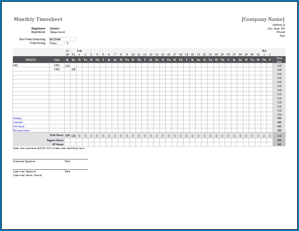 Monthly Timesheet Template Example