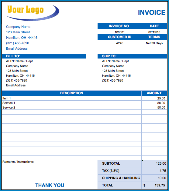 Billing Invoice Template Example
