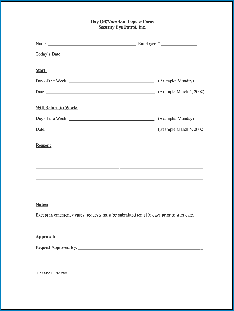Request Day Off Form Example
