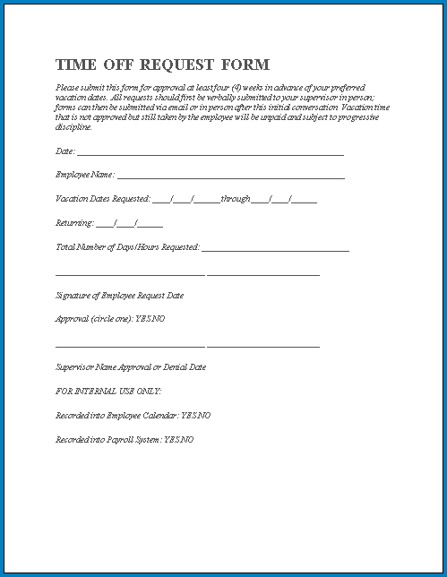 Free Printable Request Day Off Form
