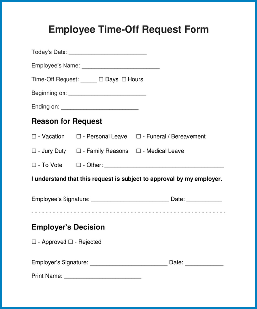 Sample of Request Day Off Form