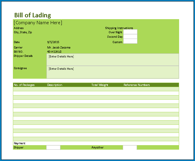 Free Printable Blank Bill Of Lading Form