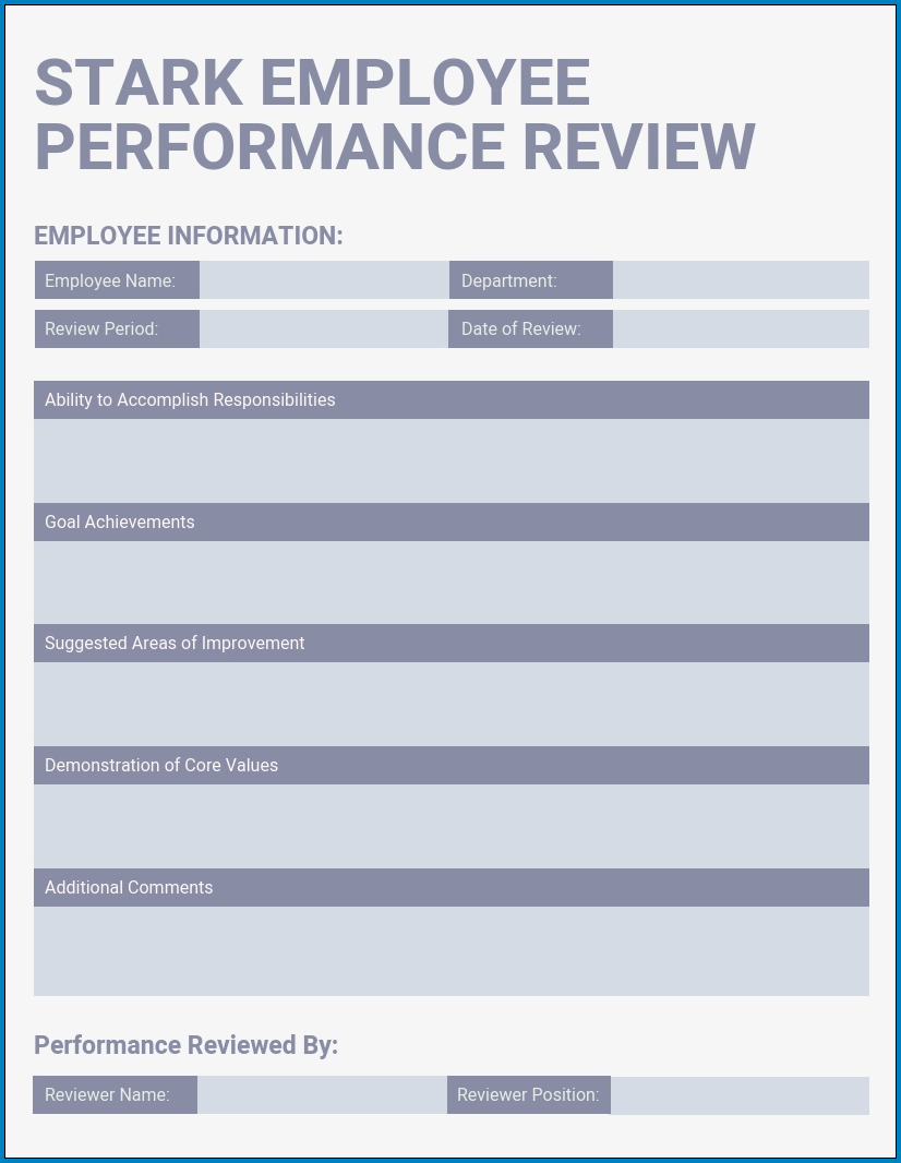 Example of Performance Evaluation Template