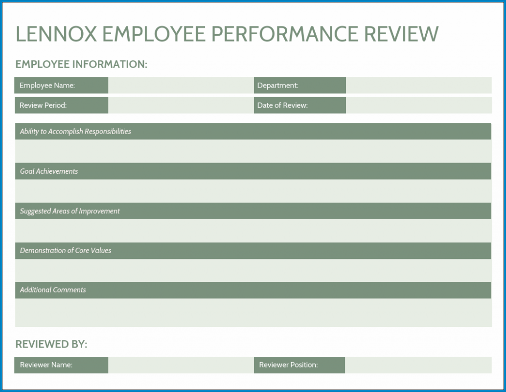 Performance Evaluation Template Example