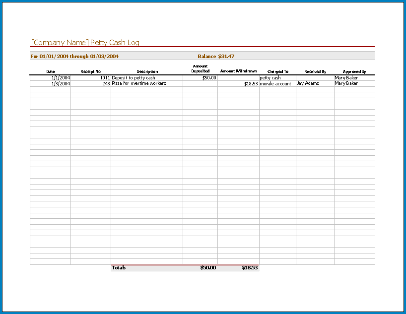 Free Printable Petty Cash Template Excel