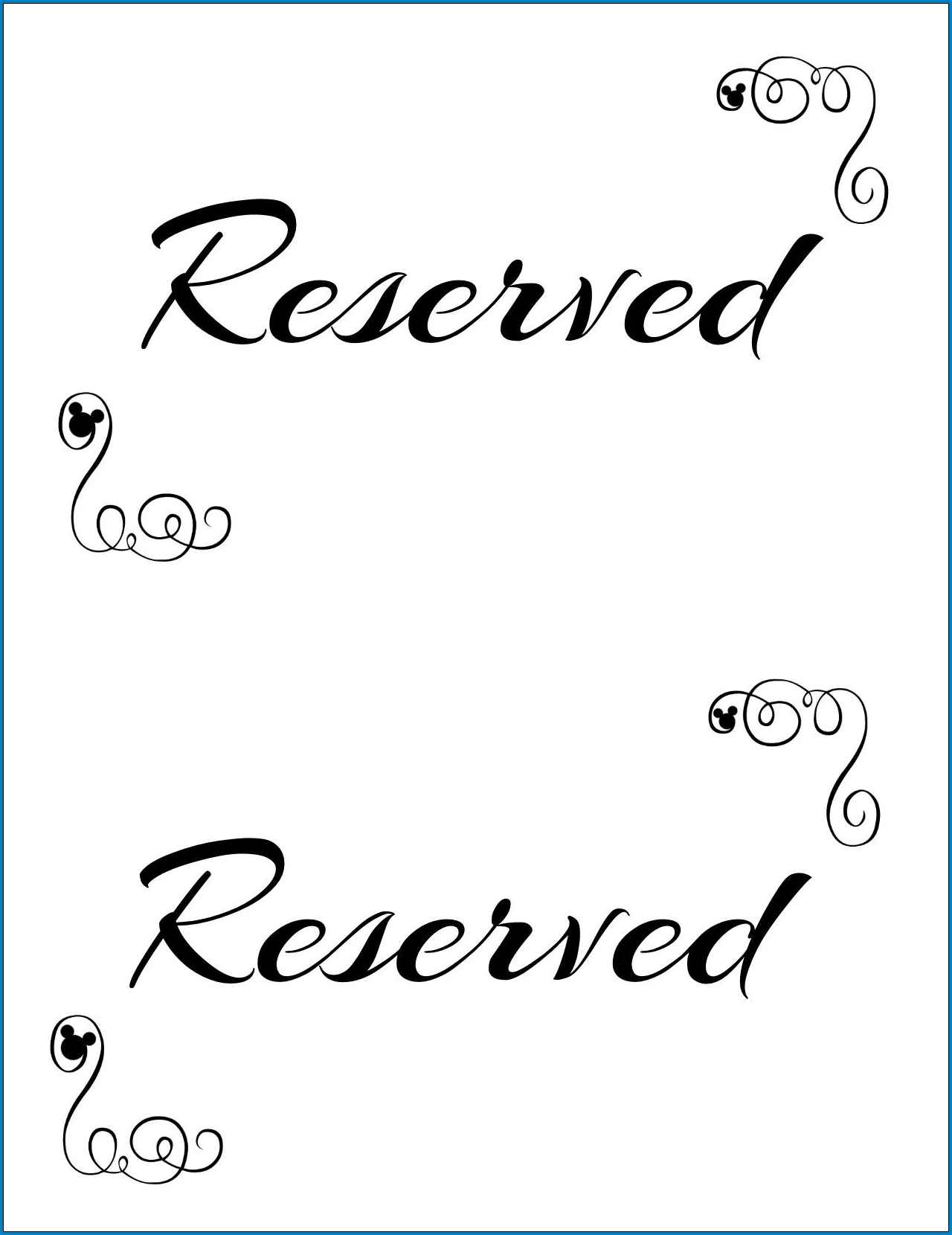 Reserved Table Sign Template Sample