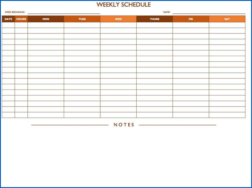 Sample of Availability Schedule Template