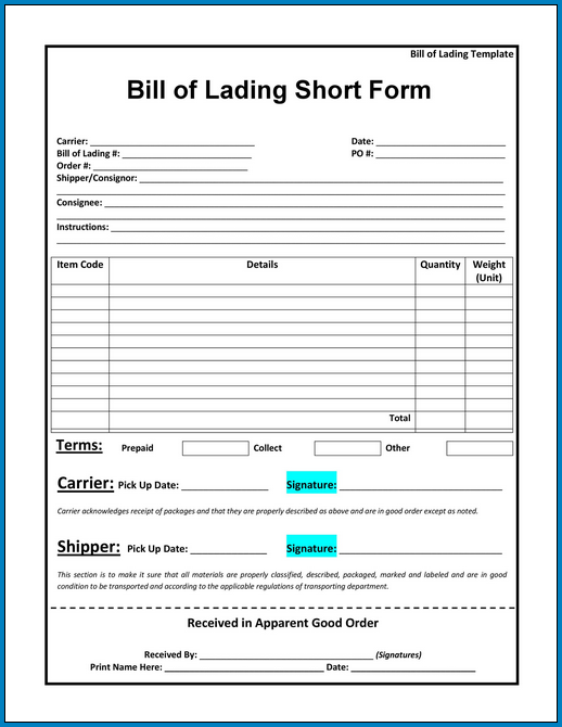 Sample of Blank Bill Of Lading Form