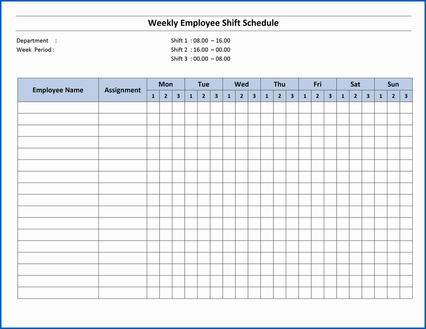Sample of Monthly Work Schedule Template