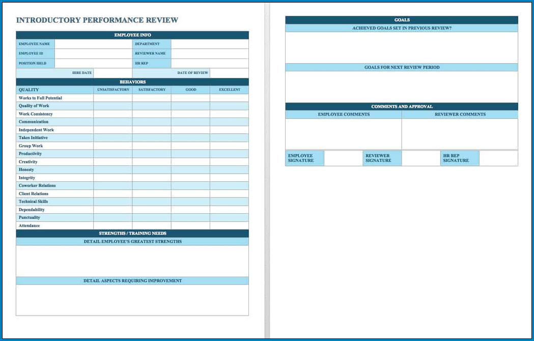 Sample of Performance Evaluation Template