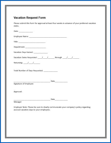 Employee Vacation Request Form Sample
