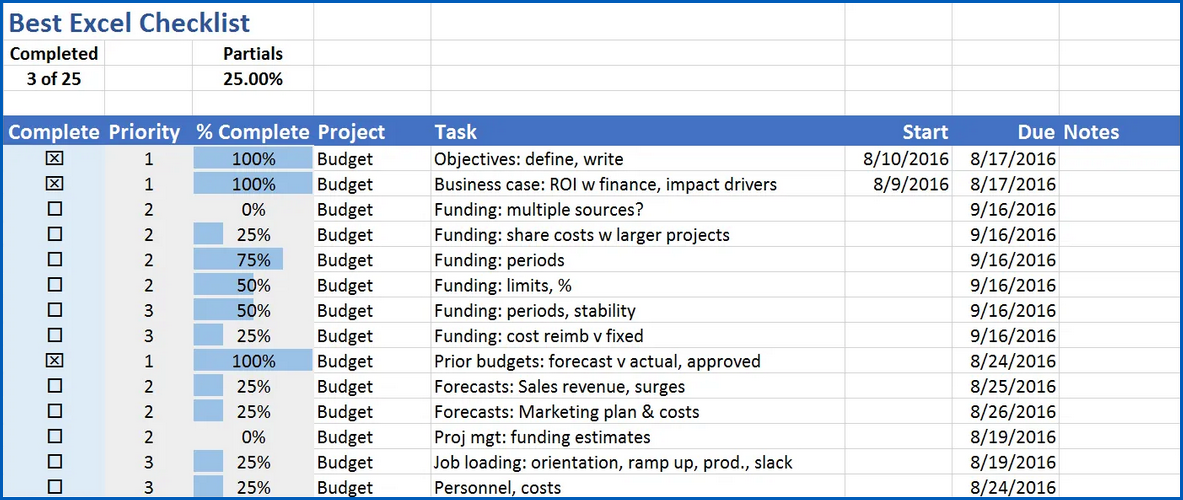 Example of Excel Checklist Template