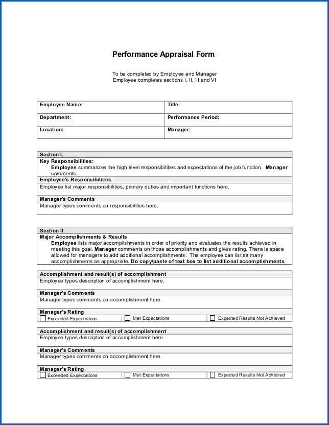 Performance Appraisal Template Example