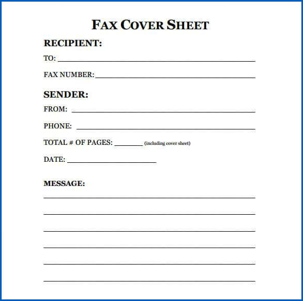 Example of Fax Cover Sheet Template Word