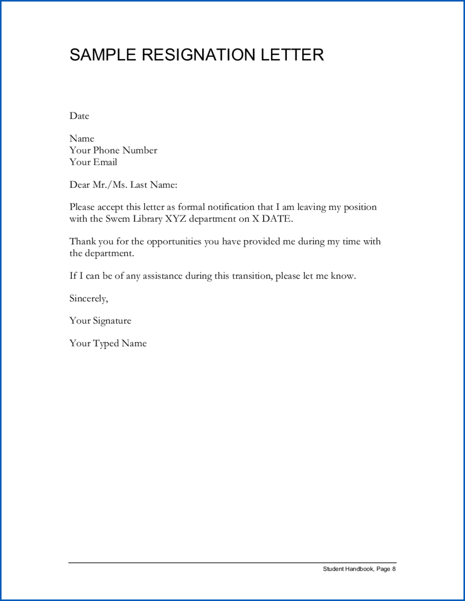 Example of Simple Resignation Letter Template