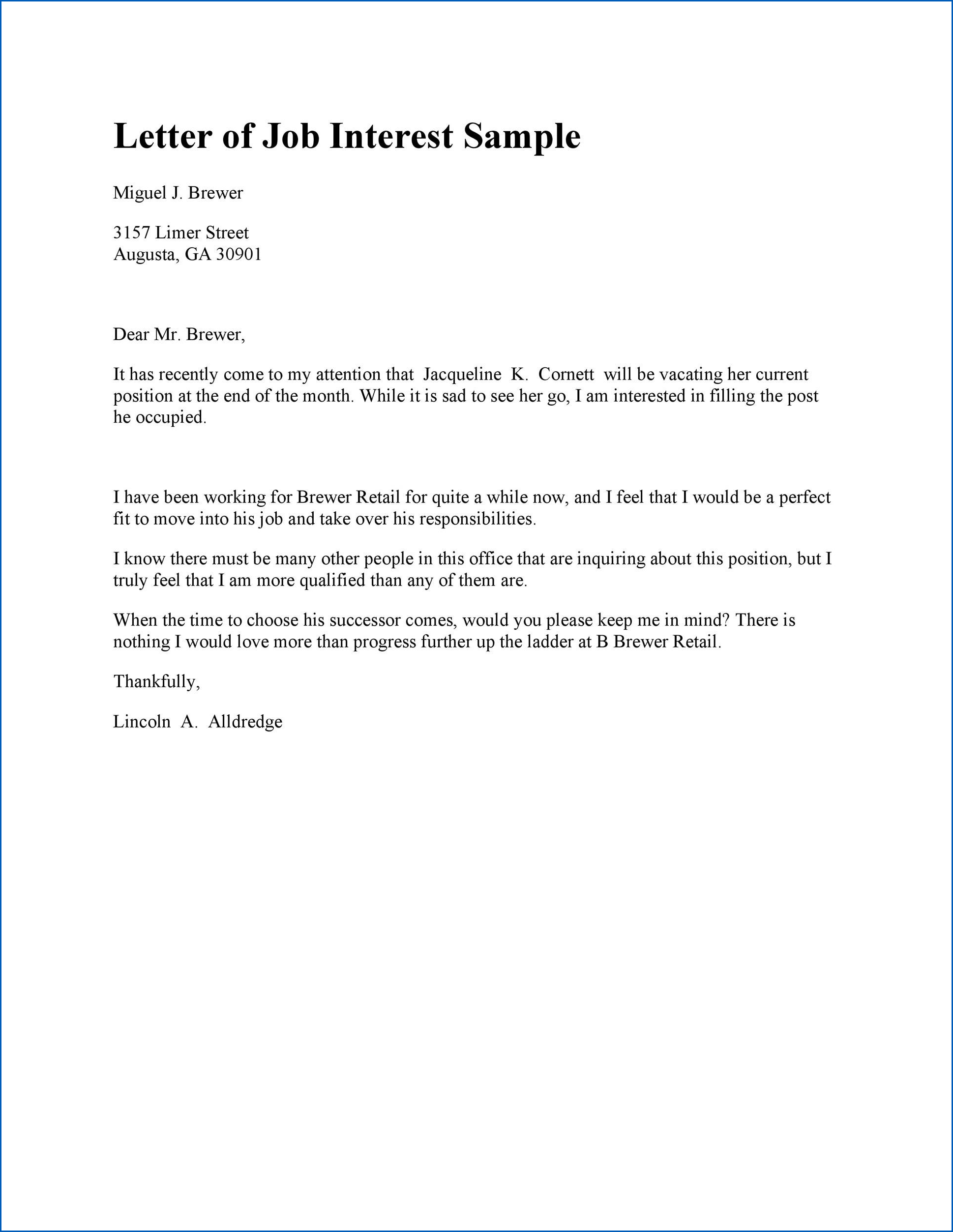 Letter Of Interest For A Job Example