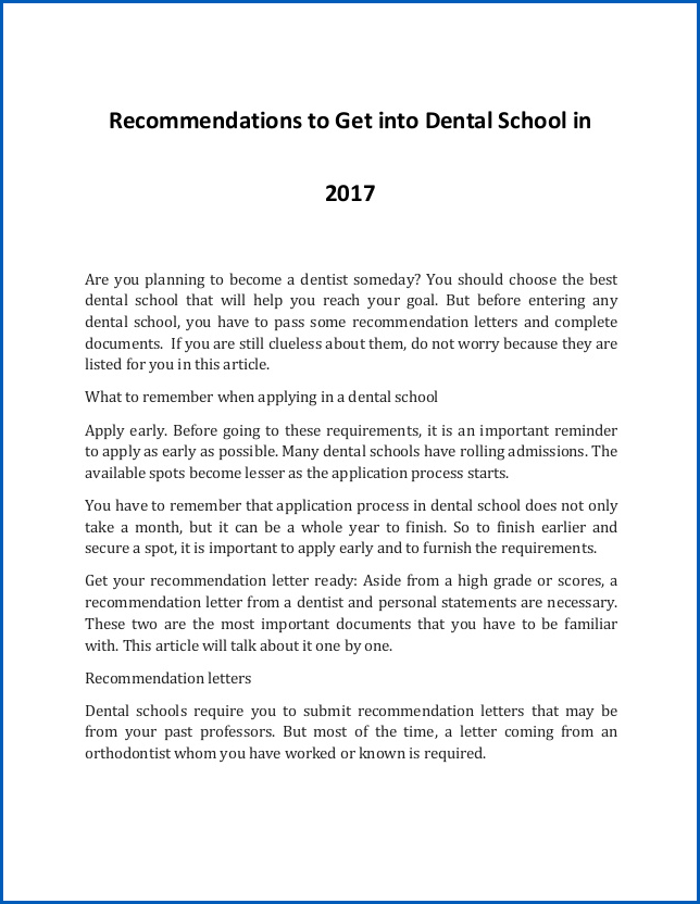 Letter Of Recommendation Dental School Example