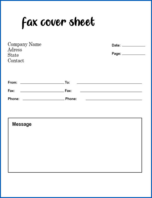 Sample of Fax Cover Sheet Template Word