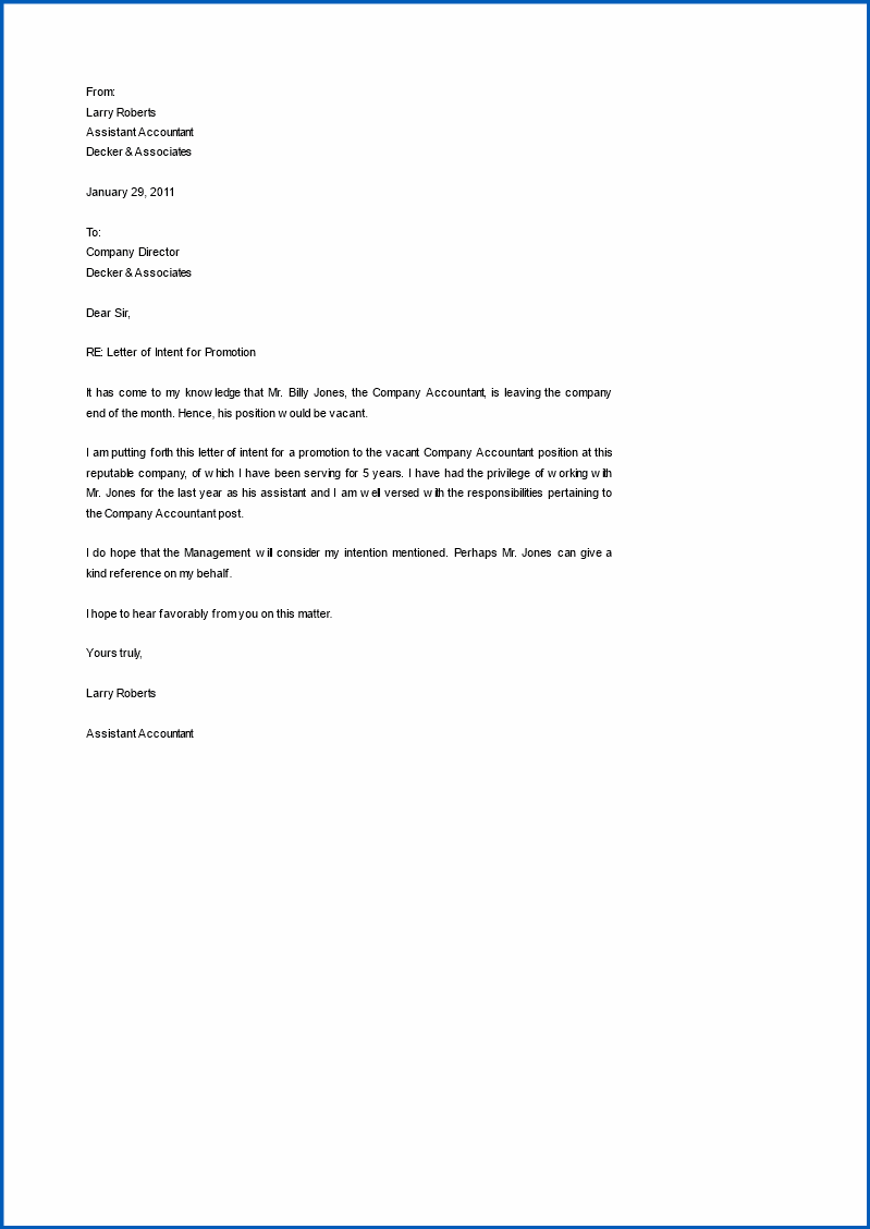 Example of Letter Of Intent For Promotion