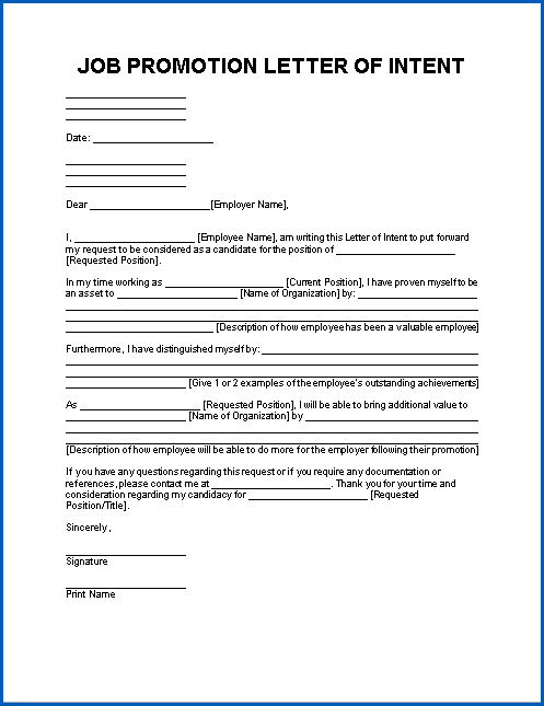 Free Printable Letter Of Intent For Promotion